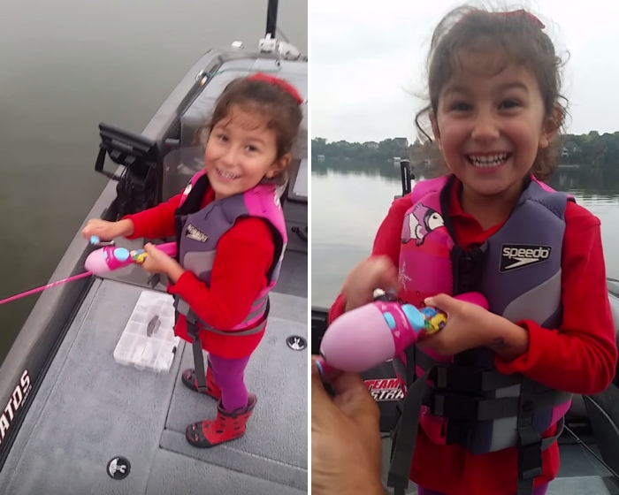 Kid With A Barbie Fishing Pole Reels In One Big Bass