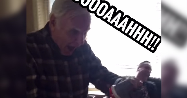 Grandpa's Reaction to Getting Light-Up Shoes is Priceless