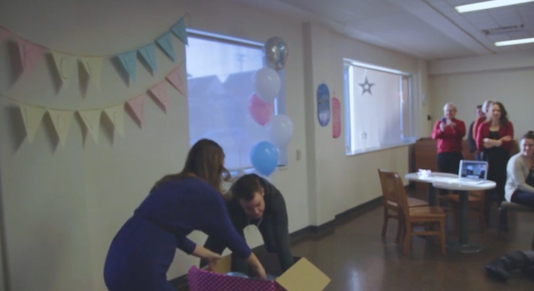 Husband Shocks Family at Gender Reveal Party When He Unzips His Hoodie