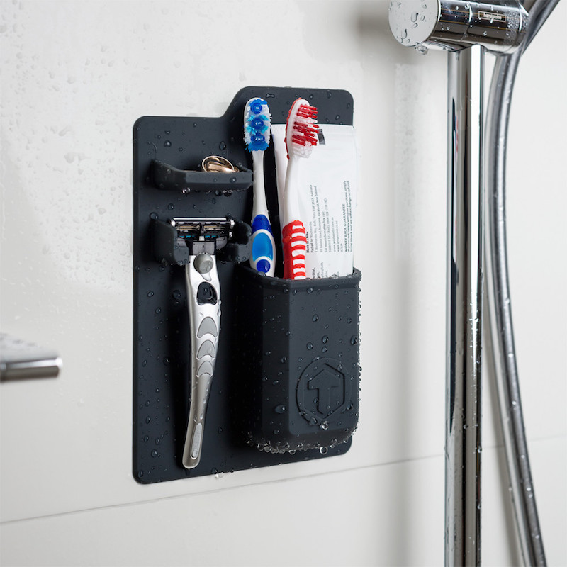 tooletries toothbrush and razor holder keep your shower and bathroom organized. Black Bedroom Furniture Sets. Home Design Ideas