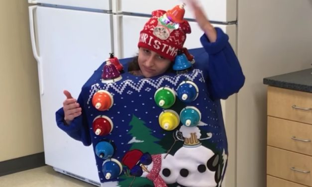 Ugly Christmas Sweater Winner Plays Carol of the Bells