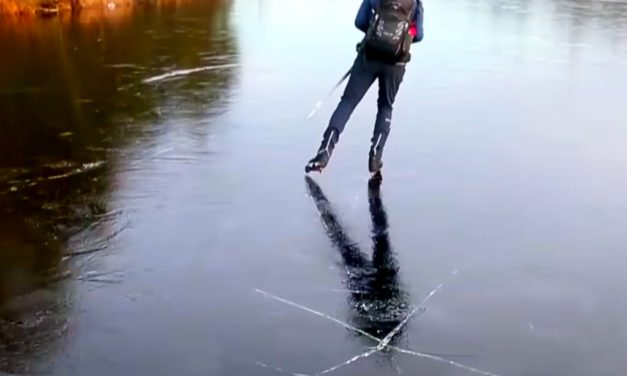 Man Skates on Thin Ice as Lake Cracks Under Him, Hear the Surreal Sounds