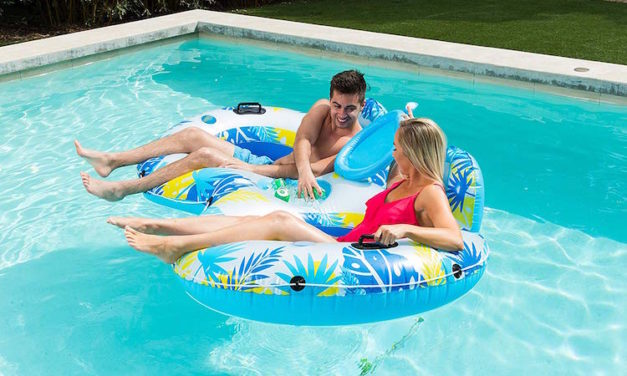 Big Sky Water Floatie: Inflatable Pool Island with Built-In Cupholders